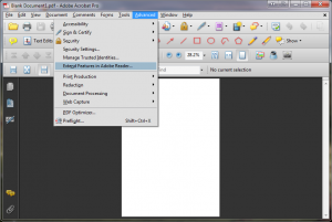 Adobe Acrobat Pro -Advanced menu - extend features menu option