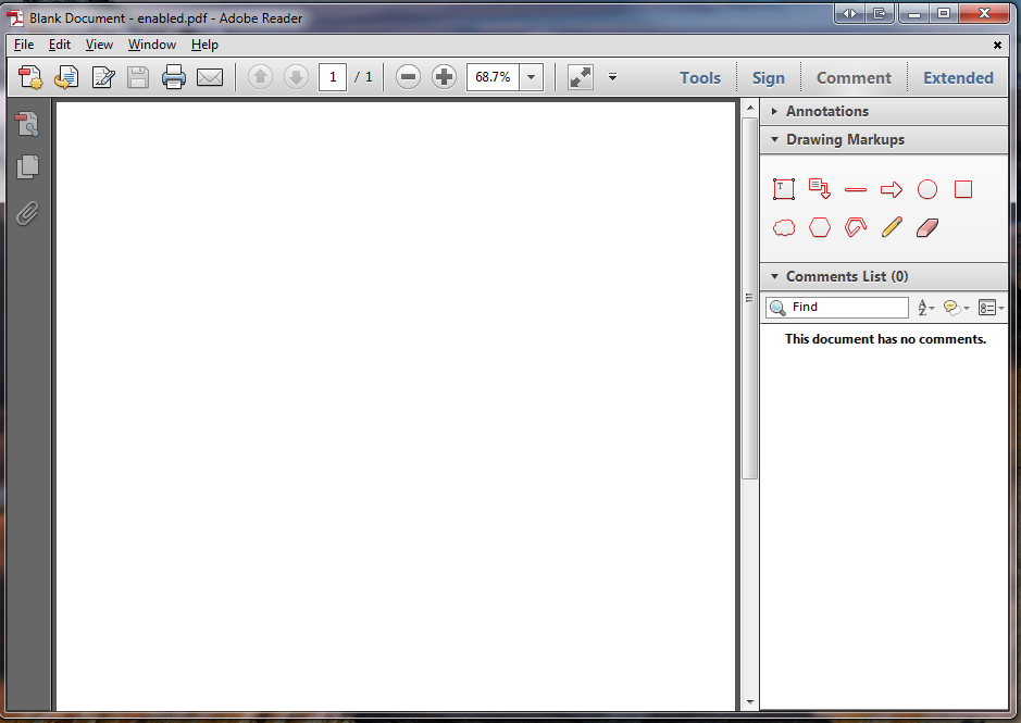 Adobe Reader - Drawing Markups tools for enabled pdf