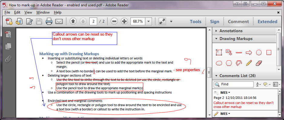 Drawing markups views in Adobe Reader.