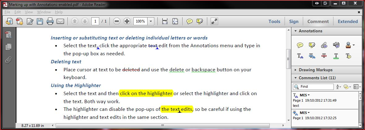 Annotations in Adobe Reader