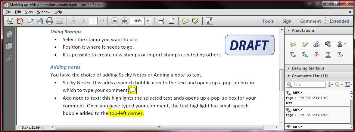 More Annotations in Adobe Reader