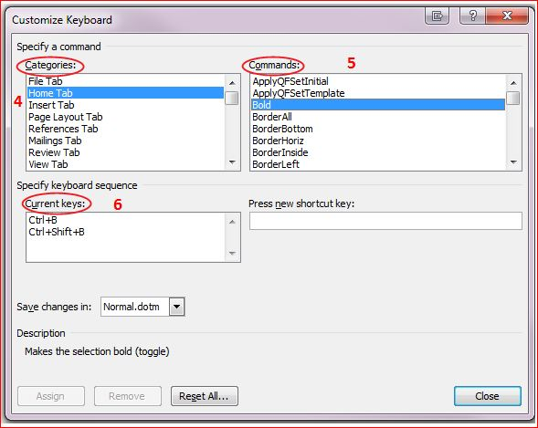 Word's Customize Keyboard dialogue box