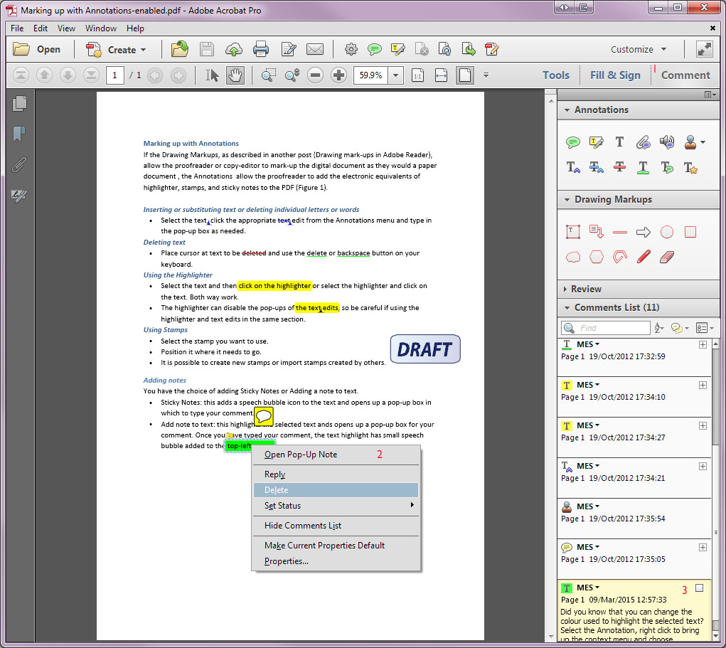 The context menu for a selected text annotation (Comments list on)