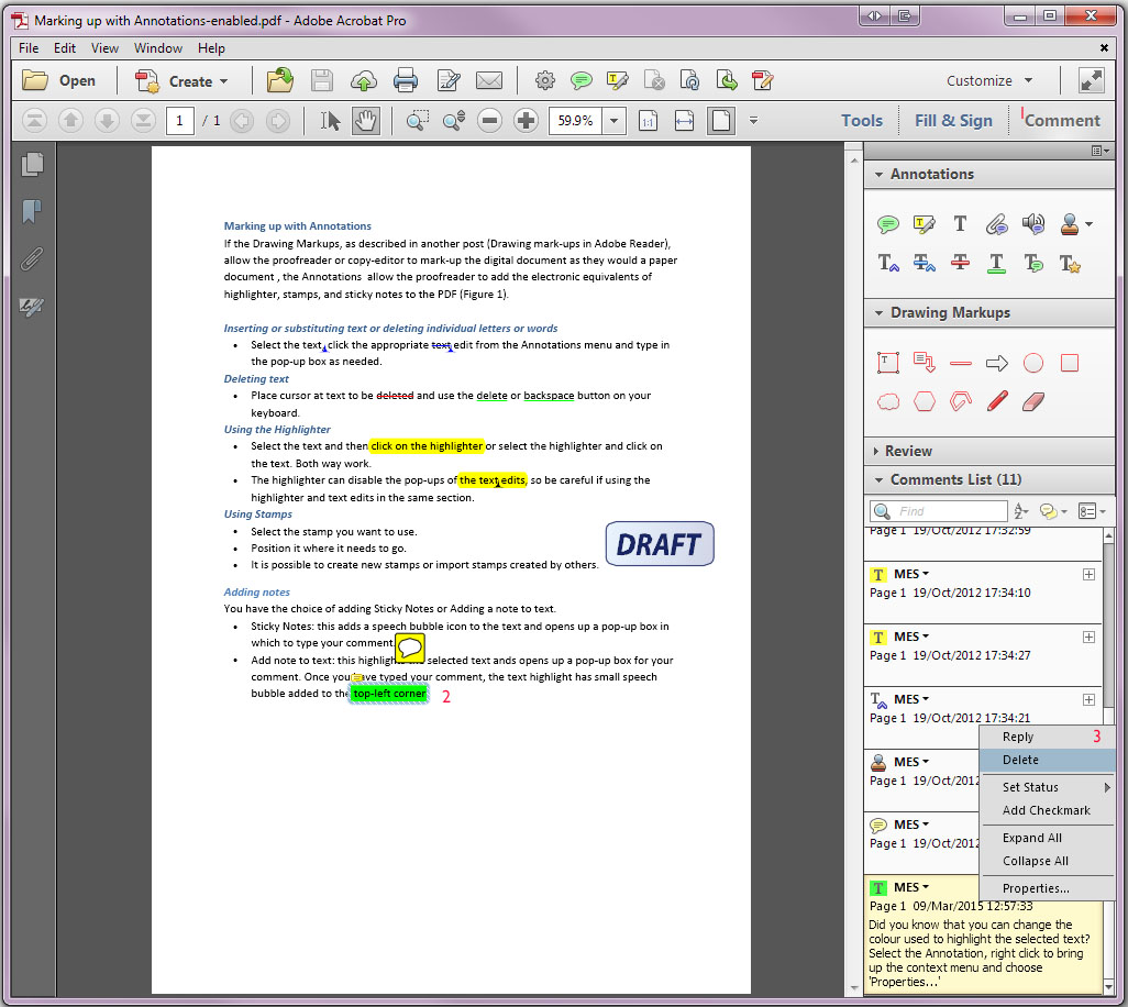 The Comments List and the context menu for a selected text annotation in a marked-up PDF.